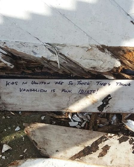 A message left for the youths who are thought to be behind damage to Honiton's old cricket pavilion.