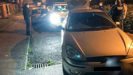 The Ford Focus stopped in a dead end in Honiton after a 40-mile chase through Somerset. Picture: PC