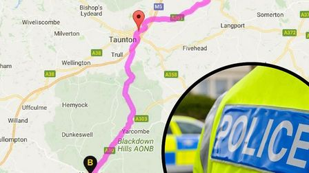 The chase ended in Somerset and ended in Honiton. Main image: Google Maps