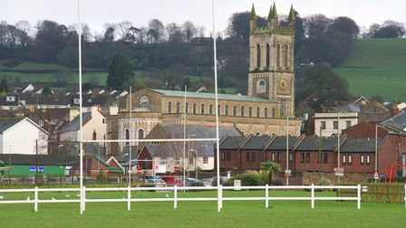 Allhallows pitch in Honiton with the church of St Pauls behind. Ref mhsp 0050-01-16SH. Photo Simon H
