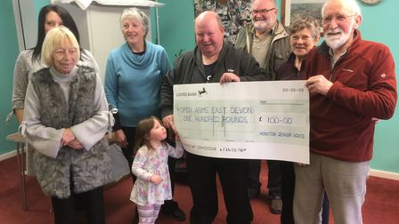 Open Arms East Devon has received £100 from Honiton Senior Voice.