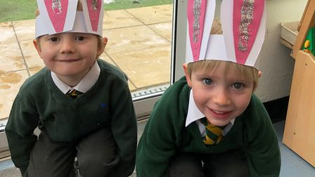 A pair of Easter bunnies at Chard School. Picture: SUBMITTED