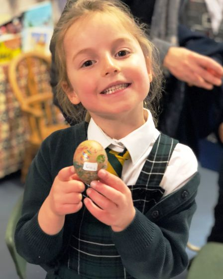 A Chard School pupil with her decoated egg. Picture: SUBMITTED