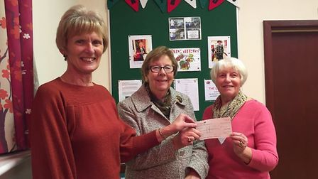 (L-R) Ladybirds treasurer, Elaine Powell, Val Royle representing Trip and receiving the cheque for