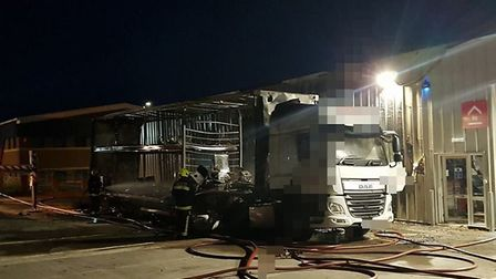 The articulated lorry which was destroyed by fire in the early hours of the morning at an industrial