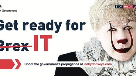 A new billboard from the Led By Donkeys campaign mocks the government's 'get ready for Brexit' adver