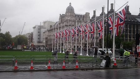 The photograph of the Union flags which Nigel Farage tweeted. Photograph: Twitter.