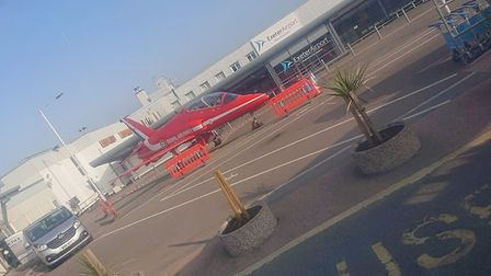 Former RAF Red Arrow Hawk being displayed outside Exeter Airport. Picture by Jon Bowman.