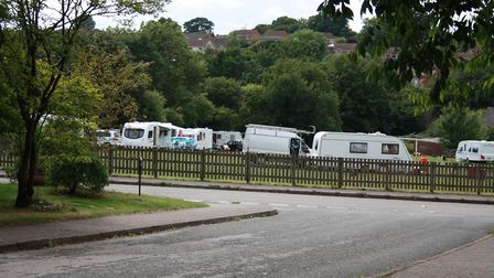 Travellers have occupied Violet Hayman Playing Fields, in Honiton.