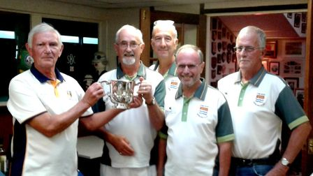 The Lyme Regis men's team that travelled to Sidmouthn where they won the Jubilee Cup.