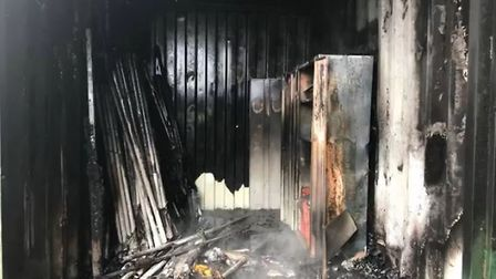 The interior of the container, which was destroyed by the blaze. Photo: Honiton Fire Station