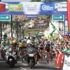 The Tour of Britain stage start on Sidmouth seafront in 2013. Bradley Wiggins is pictured centre in