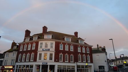 This was a pink rainbow taken on Sunday 14th October 2018, taken from Exmouth just before sunset. Pi