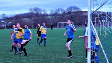 Action from the Millwey Rise Reserves 3-1 home defeat to Lympstone Picture DICK STURCH