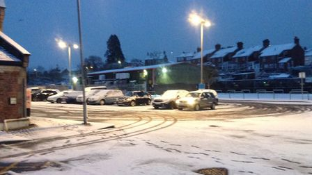 Snow covering Axminster Train Station. Picture: AC.