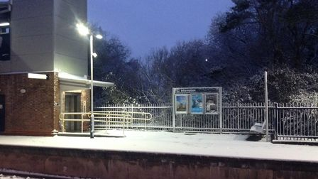 Snow covering Axminster Train Station. Picture: AC