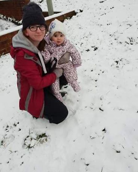 Scarlett's first look at snow in Sidmouth! Picture: Hannah Wright