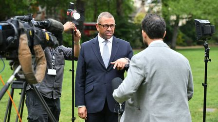 James Cleverly preparing for a media appearance. The Conservative party's suggested Q&A answers have