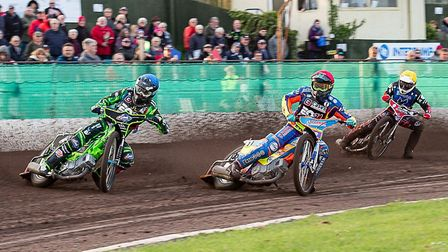Todd Kurtz (blue) and Rory Schlein (red) lead out Ben Morley (yellow) during the Cases Somerset Rebe