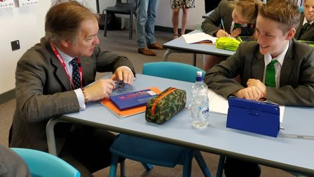 Sir Hugo in the classroom for the maths lesson. Picture: Pedroza Communications