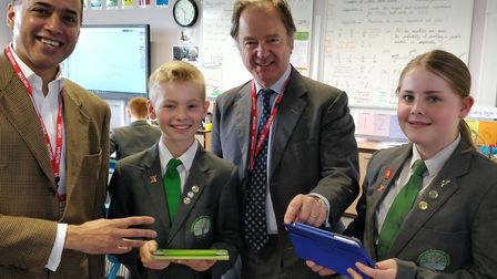 Dan Sandhu of Sparx and Sir Hugo, with pupils Benjamin Gale and Hannah Mobbs, Picture: Pedroza Commu