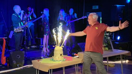 The Beehive, in Honiton, marked its fifth anniversary on Saturday, June 15, Lighting the cake with v