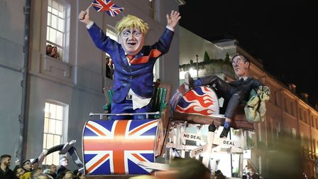An effigy of Prime Minister Boris Johnson and Leader of the House of Commons Jacob Rees-Mogg during