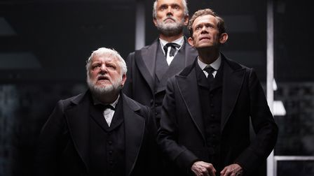 Simon Russell Beale, Ben Miles and Adam Godley in The Lehman Trilogy at the National Theatre. Pictu