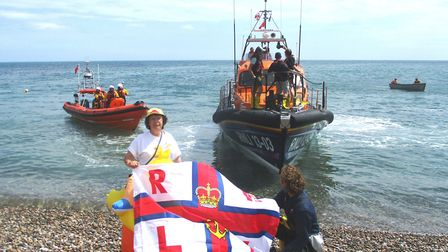 Seaton, Beer and District RNLI branch secretary Wendy Cummins welcomes lifeboats from Lyme and Exmou
