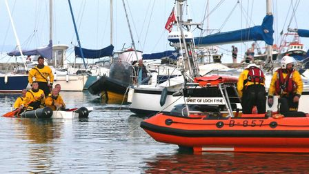 The lifeboat crew's bathtub team had to be towed home - by the lifeboat! Picture Richard Horobin