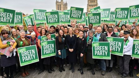 Green Party Co-Leader Sian Berry (centre), Deputy Leader and Parliamentary Candidate for Newport Wes