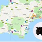 A picture of a map for big cat sightings across Devon and Cornwall, put together by Midweek Herald (