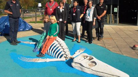 Twins Fred and Solomon Unwin, aged seven, from Lyme Regis, unveiled Seaton Jurassic's new model of a