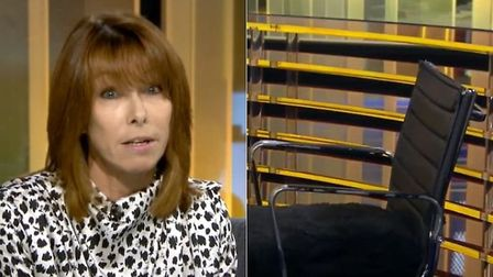 Kay Burley and her empty chair on her breakfast television show. Photograph: Sky News.