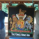 Alan Jackson and John Curnoe, who each repainted one side of the pub sign. Picture: John Vickery