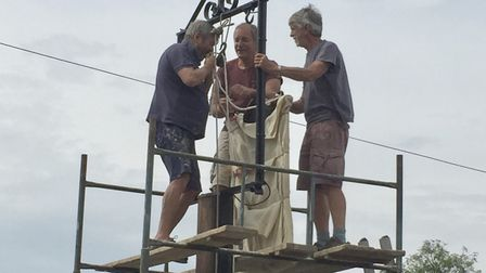 The repainted pub sign was hoisted into place in August. Picture: John Vickery