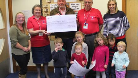 Pictured at the Chardstock Fayre cheque presentations are (l/R) Sarah Williamson (events secretary),