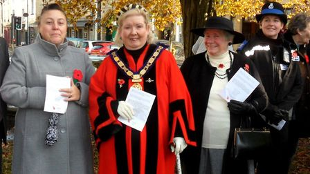 Axminster mayor Anni Young at the Act of Remembrance. Picture Chris Carson