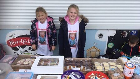 Young volunteers on the Biff's Battle cake sale stand Picture: Kathryn Voysey