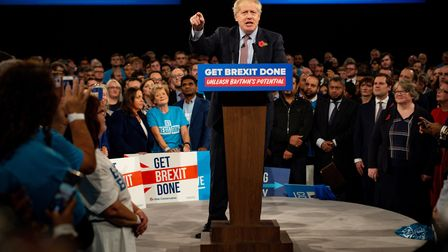 A closer-up view of Boris Johnson launching the Conservative general election campaign. Picture: Jac