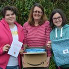 Harriet, Lin and Evie Coley, with the first consignment of drawstribg bags for NHS staff. Picture: A
