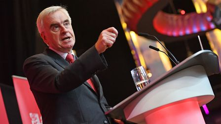Shadow Chancellor John McDonnell speaks to supporters whilst on campaign trail in Liverpool. PA Phot