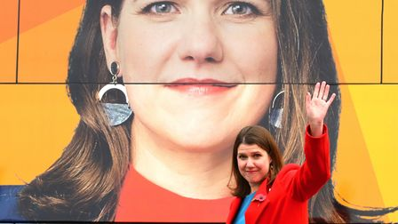 Liberal Democrat leader Jo Swinson in front of the party battle bus Photo: Aaron Chown/PA Wire