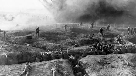Soldiers take refuge in trenches in the 1930 film All Quiet on the Western Front. Photo: John Spring