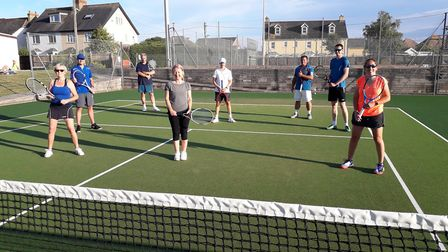 Seaton tennis players observing social distancing! Picture SEATON TENNIS CLUB