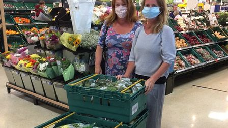 SAVE volunteers Angie and Jools collecting from a local supermarket. Picture: SAVE Food Hub