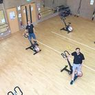 The socially-distanced gym with leisure manager Chris Duchenski, centre. Picture: LED Leisure