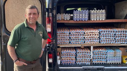 Tony Fowler gets ready to deliver his eggs Pic: Tony Fowler