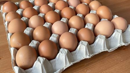Boxes of freshly-laid eggs for sale from Farmer Fowler