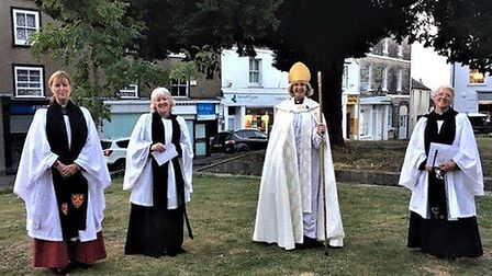 Revs Cate Edmonds, Nicky Davies, Bishop Jackie, and Shuna George on the Minster Green. Picture AVM